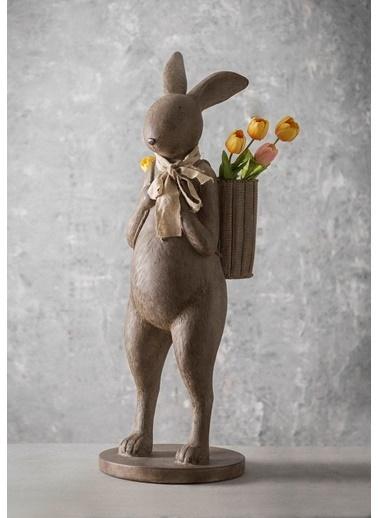 Sırtında Sepetli Tavşan Dekoratif Obje Büyük B. -Warm Design